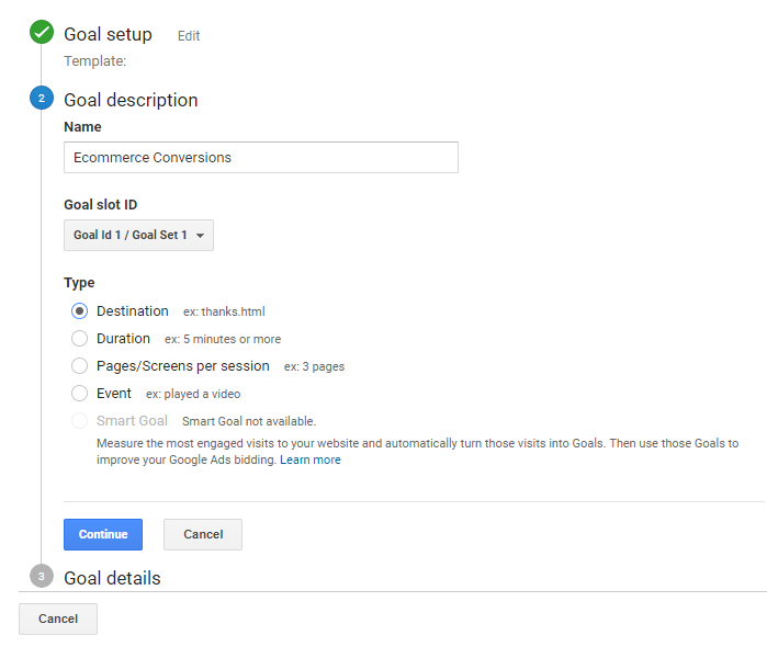 Google Analytics Goal Set Up Step 4